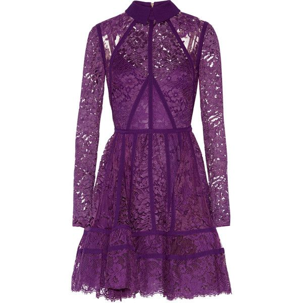Elie Saab Paneled lace and silk-georgette mini dress (€3.080) ❤ liked on Polyvore featuring dresses, purple, loose dresses, short lace cocktail dress, lace dress, fitted dresses and short purple dresses