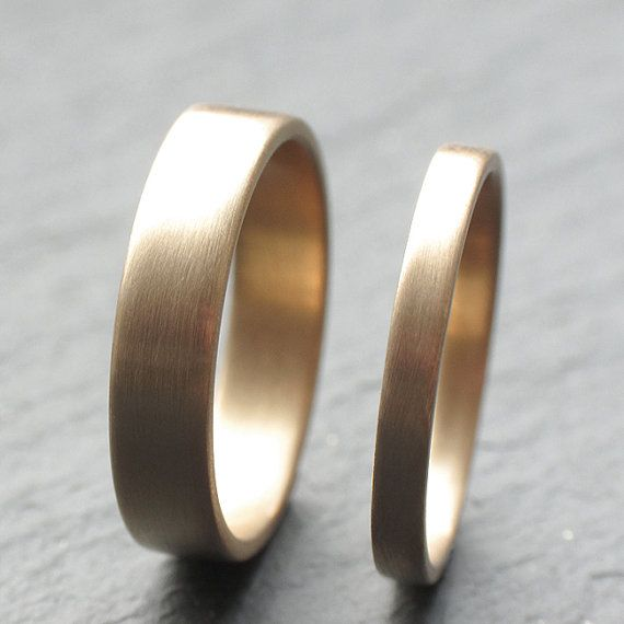 9ct Yellow Gold Wedding Band Set Two Wedding Rings 2mm by OddPower