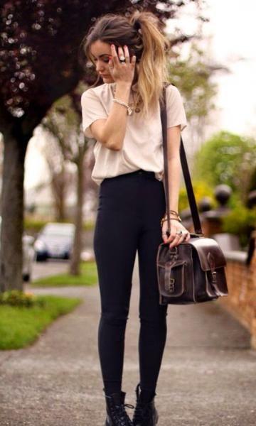 Look com Legging: Blusa Nude + Coturno