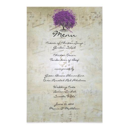 Purple Heart Leaf Tree Wedding Menu Stationery