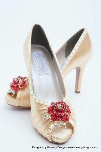 Belle Beauty and the Beast Rose Adult Pair Shoes by BbeautyDesigns