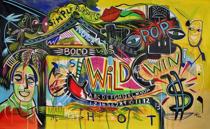 "60"" HUGE Original Streetart Abstract MODERN ART painting by RAEART ""POP WIN!"" #Surrealism"