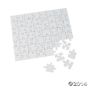 We can buy blank puzzles from Oriental Traiding, 24 for $10.50.  This is the link.