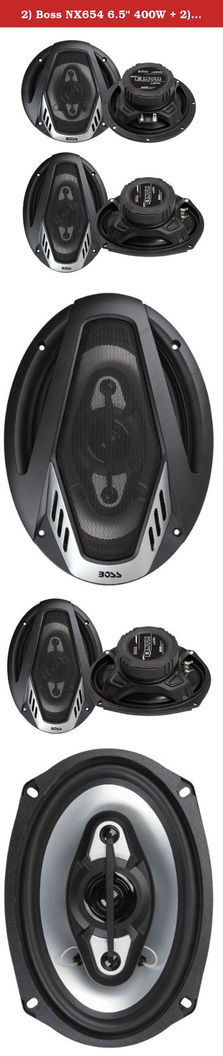 "2) Boss NX654 6.5"" 400W + 2) NX694 6x9"" 800W 4-Way Car Audio Coaxial Speakers. Package Includes: Boss NX654 6.5"" 400W 4-Way Car Speakers (1 pair) Boss NX694 6x9"" 800W 4-Way Car Speakers (1 pair) ----- The Boss NX654 6.5"" car audio 4-way speakers feature a MAX power of 400 watts at 4-ohm impedance. Other features include a stamped steel basket and a poly injection cone material with two Mylar cone tweeters. Replace your factory speakers with the Boss NX654 6.5"" 4-way speakers. The Boss…"