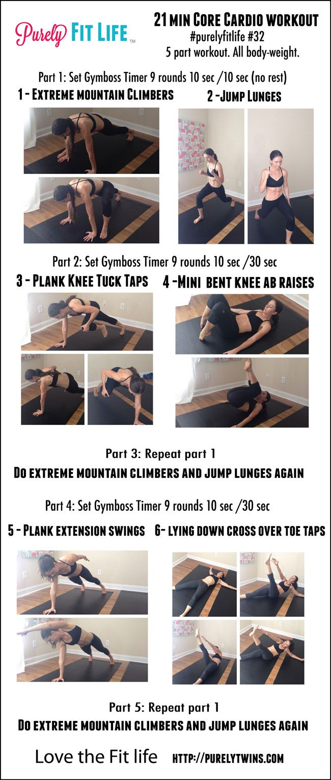 21 minute core cardio workout -  a great workout to get strong lean abs!