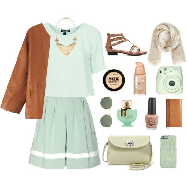 street style: green and beige by srsstreetcouture on Polyvore featuring polyvore, fashion, style, Topshop, Toast, Wood Wood, Crown Vintage, FOSSIL, MANGO, Ray-Ban, Maybelline and OPI