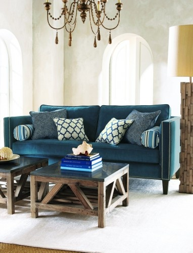 blue velvet couch: Blue Velvet, Coffee Tables, Decor Ideas, Blue Couch, Blue Sofas, Coff Tables, Families Rooms Design, Eclectic Living Rooms, Throw Pillows