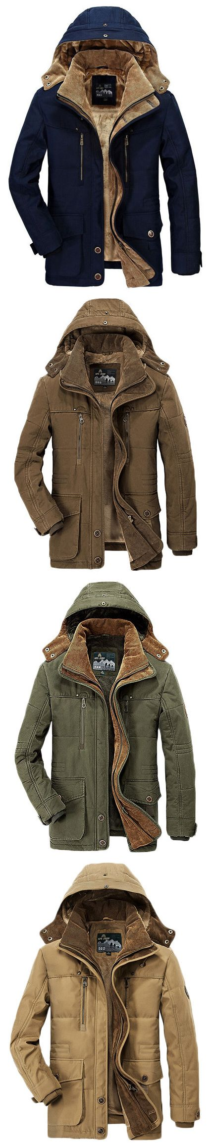 AFSJEEP Winter Thicken Warm Multi Pockets Solid Color Detachable Hood Jacket for Men