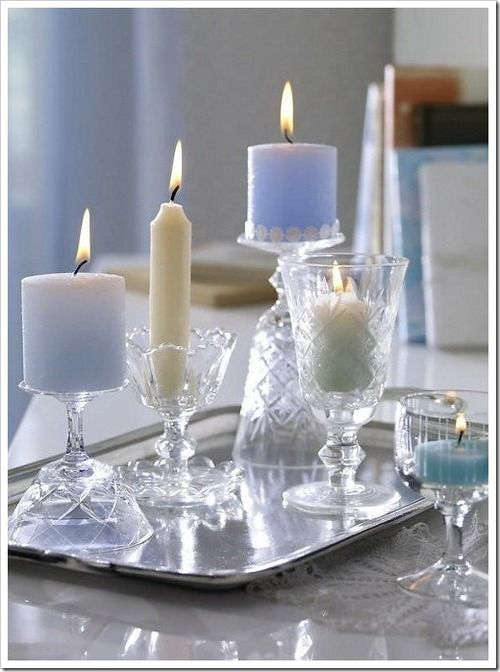 Crystal stemware, repurposed.  Candles  Pinterest  양초