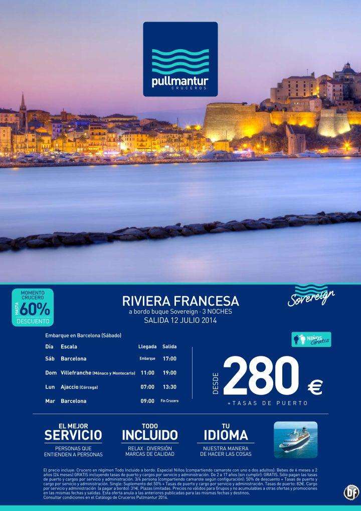Crucero Riviera Francesa 2014 - 3 noches - Pullmantur TI desde 280€ - http://zocotours.com/crucero-riviera-francesa-2014-3-noches-pullmantur-ti-desde-280e/