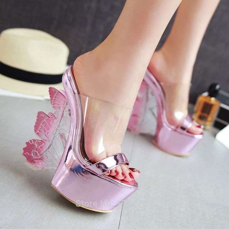 new fashion summer women shoes platform super high heels slippers butterfly wedges sexy slides open toe CN size 34-39 0132