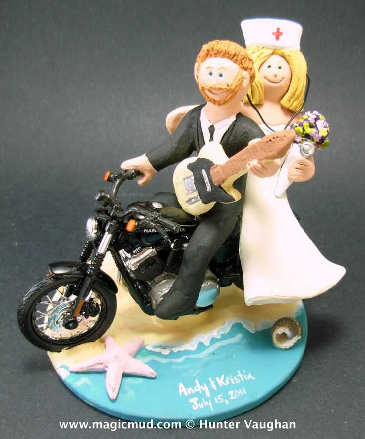 Guitarist on a Harley Wedding Cake Topper http://www.magicmud.com   1 800 231 9814  magicmud@magicmud.com   https://twitter.com/caketoppers         https://www.facebook.com/PersonalizedWeddingCakeToppers  $250 #wedding #cake #toppers #custom #personalized #Groom #bride #anniversary #birthday#weddingcaketoppers#cake toppers#figurine#gift#wedding cake toppers #guitar#guitarist#guitarPlayer#acousticGuitar#electricGuitar#musician#rockStar#rocknroll#rockGod