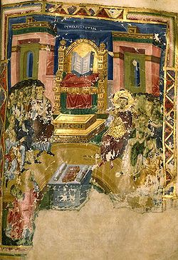 "First Council of Constantinople (381) repudiated Arianism and Macedonianism, declared that Christ is ""born of the Father before all time"", revised the Nicene Creed in regard to the Holy Spirit. 9th century Byzantine manuscript illumination of I Constantinople Homilies of Gregory Nazianzus, 879-882"