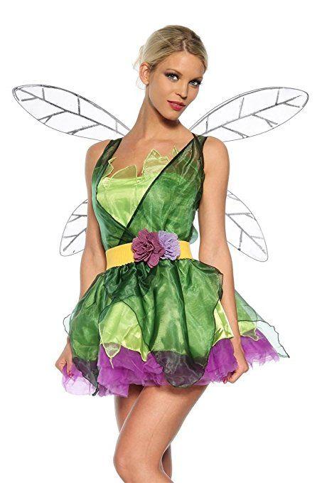 dc4dfe8e06895 Kleid, Flügel, Gürtel, String Feen Kostüm grün/lila, Größe Atixo:OS ...