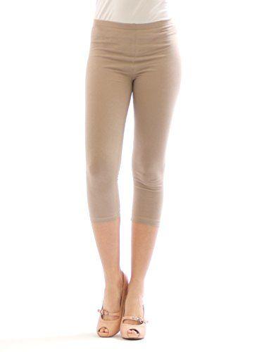http://ift.tt/1Scnw8A Damen 3/4 Capri Leggings Leggins kurze Knie Hose Baumwolle BEIGE L $(niiloip)!#