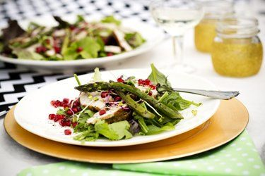 Roast turkey, asparagus and pomegranate salad with macadamia dressing