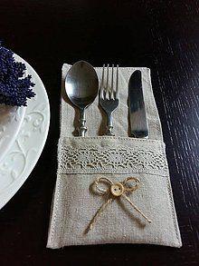 Úžitkový textil - Púzdro na príbor s gombíčkom - 5513871_