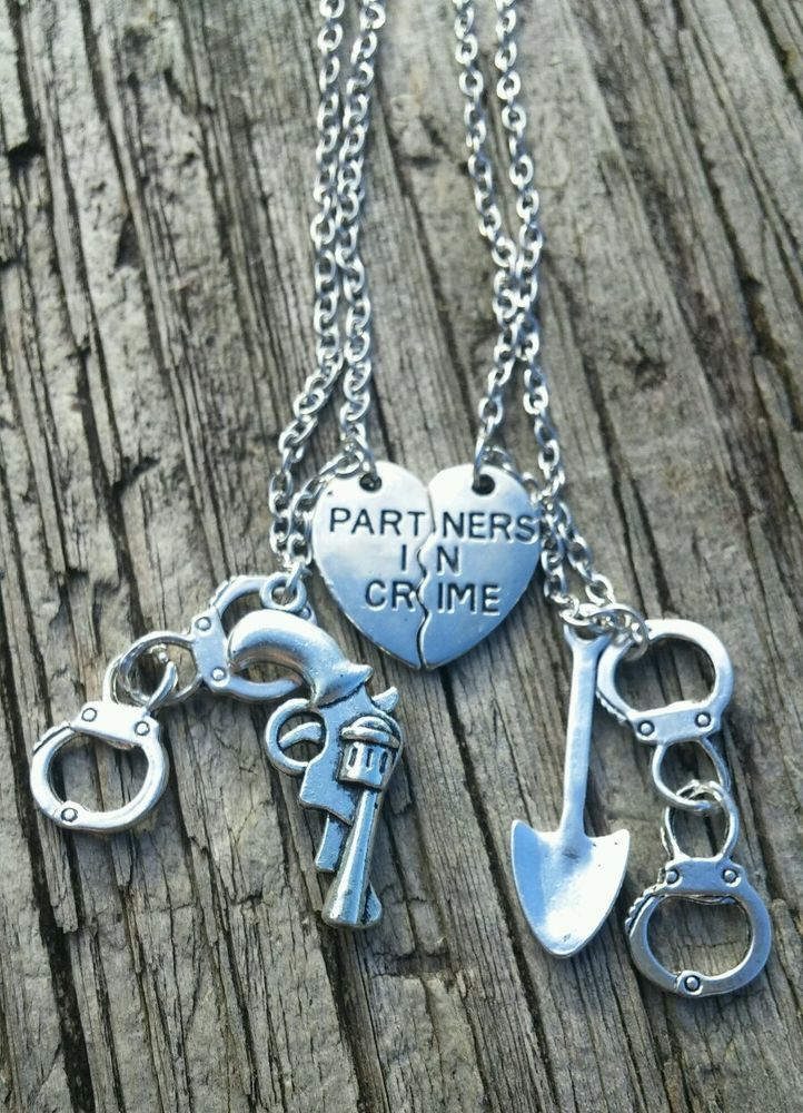 Hot! 2pcs Partners in Crime Friendship Necklace Set Best Friend Couple Silver in…
