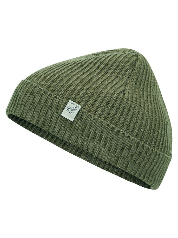 Short knitted olive green beanie, perfect accessory for a worn vintage look | JACK & JONES