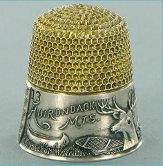 Antique sterling and gold souvenir thimble