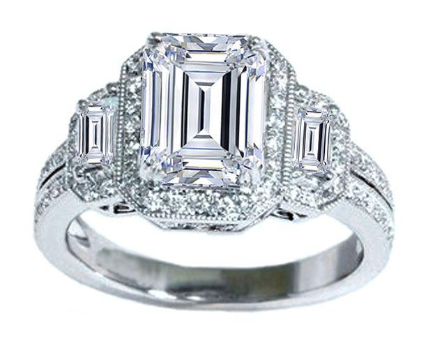 Three Stone Emerald Cut Halo Vintage Engagement Ring: Vintage Diamond, Cut Diamonds, Vintage Engagement Rings, Diamond Rings, Style, Emerald Cut, Diamonds Rings, Jewelry, Emeralds Cut