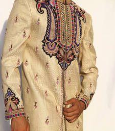 Buy gold cream heavy dupion embroidered sherwani sherwani online