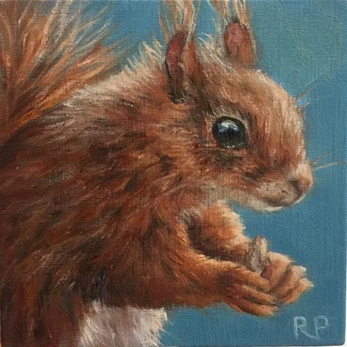 """Daily Paintworks - """"Red Squirrel"""" - Original Fine Art for Sale - © Rhea Groepper Pettit"""