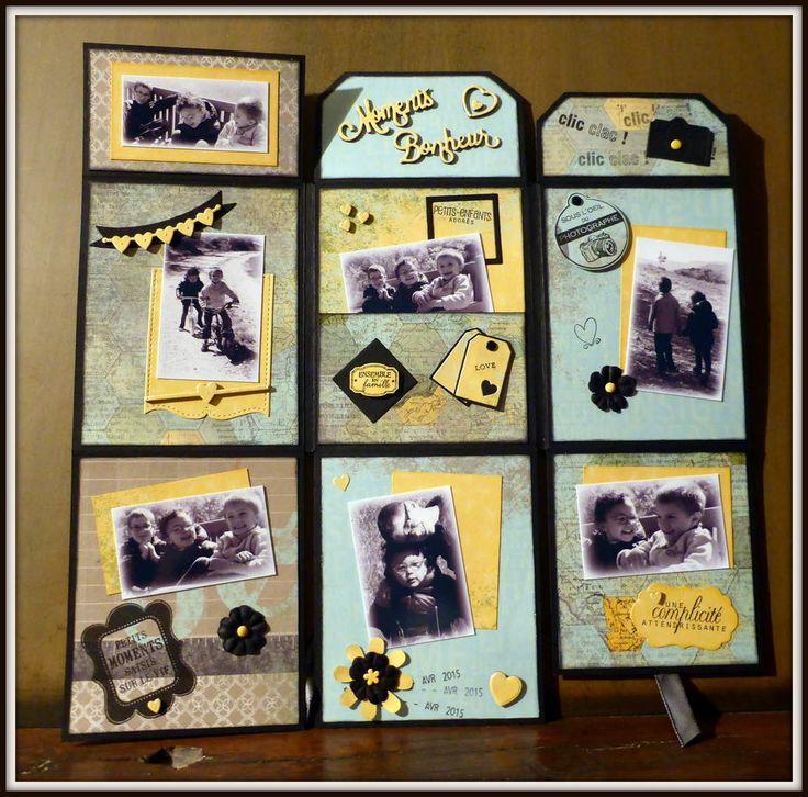 Un mini album dans une page. Pour cela il vous faut : Une page unie 30,5 cm x 30,5 cm, une feuille imprimée, des chutes pour la déco, du ruban et quelques belles photos !....