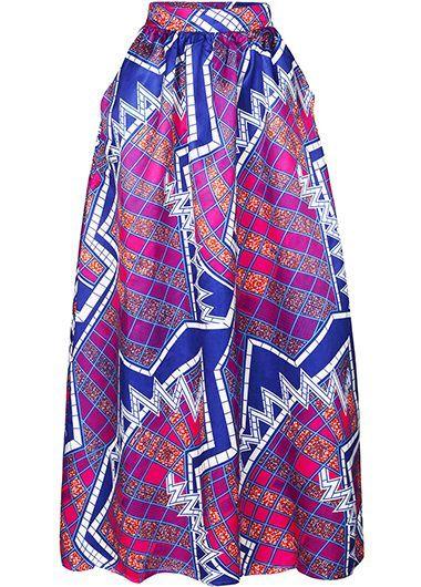 High Waist Printed Purple Maxi Skirt   liligal.com - USD $36.08