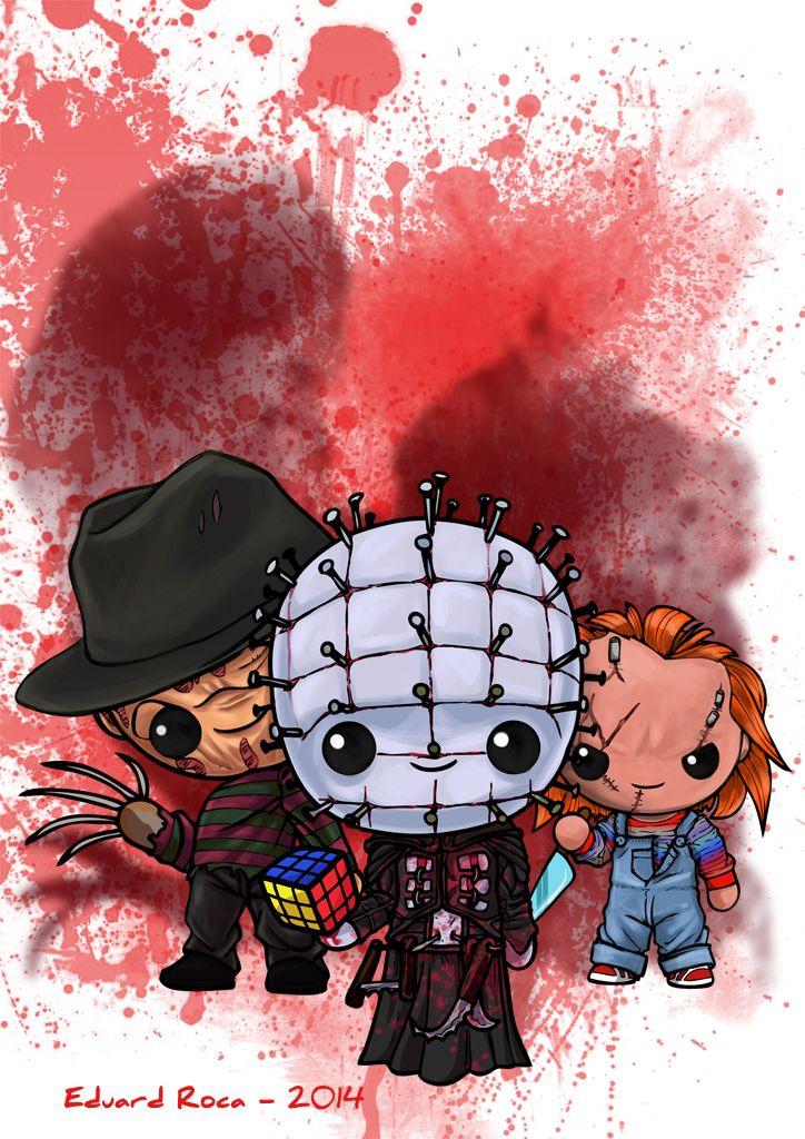 Freddy, Pinhead y Chucky están en tus pesadillas... #terror #kawaii #cute