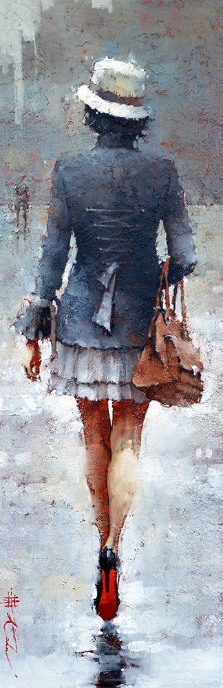 "Vintage Yves Saint Laurent, series #6 36"" x 12"" Oil  www.andrekohnfineart.com"