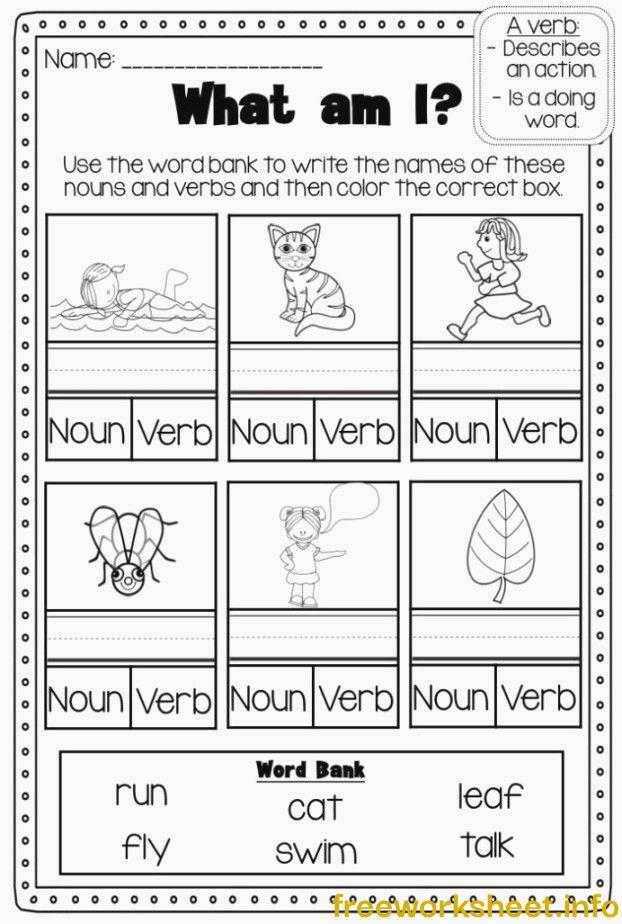 Verbs Printable Worksheet Pack Kindergarten First Second Kindergarten  Grammar Worksheets, Nouns And Verbs, Nouns And Verbs Worksheets