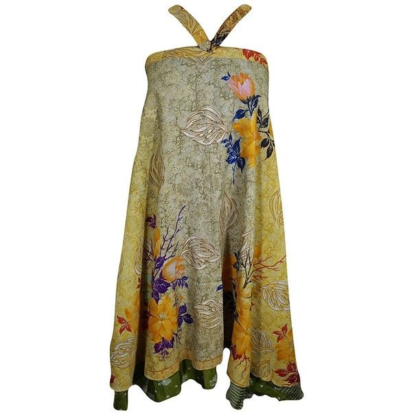 Mogul Womens Magic Wrap Skirt Vintage Silk Sari Two Layer Reversible... ($30) ❤ liked on Polyvore featuring dresses, silk wrap skirt, vintage dresses, reversible dress, brown vintage dress and wrap skirt