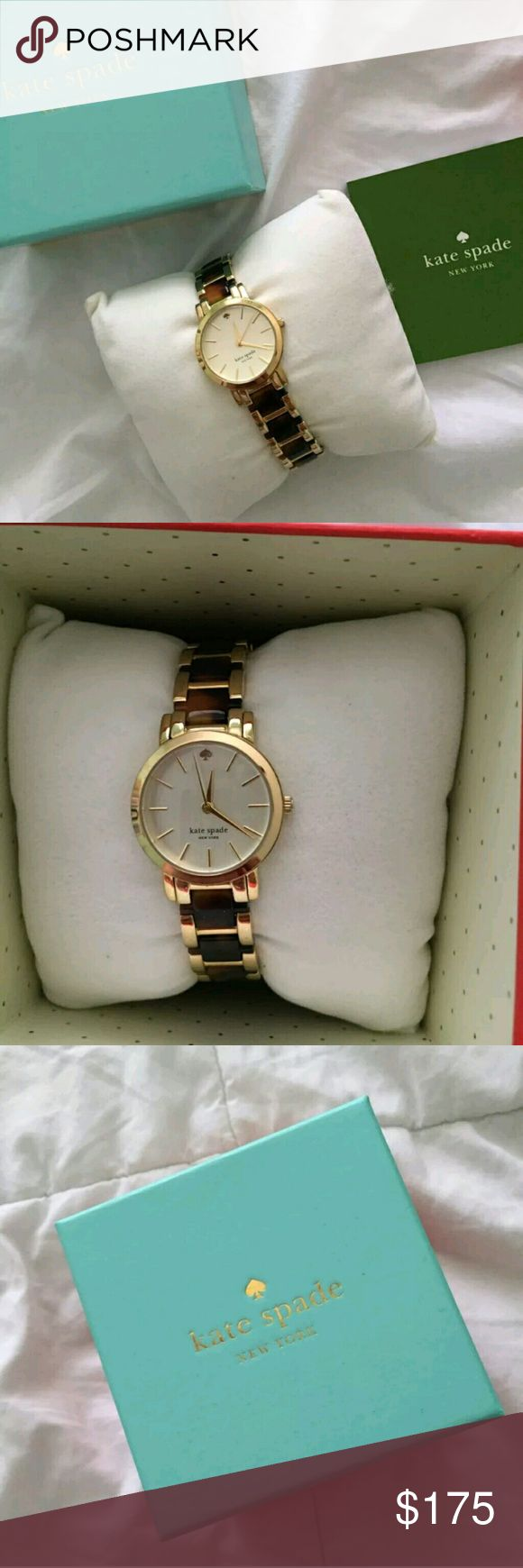 Kate Spade Tortoise Watch For sale is a gently used Kate Spade New York women's gold and tortoiseshell wrist watch. Watch is in excellent condition; no scratches on the face. Comes with original box, booklet, and extra links. From a smoke-free home. Kate spade  Accessories Watches