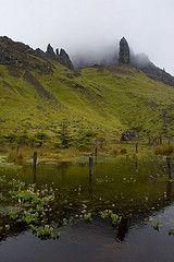Old Man mirrored (Christian Hacker) Tags: mist rock fog reflections walking scotland highlands pond rocks isleofskye innerhebrides hiking mirrored oldmanofstorr canoneos400d