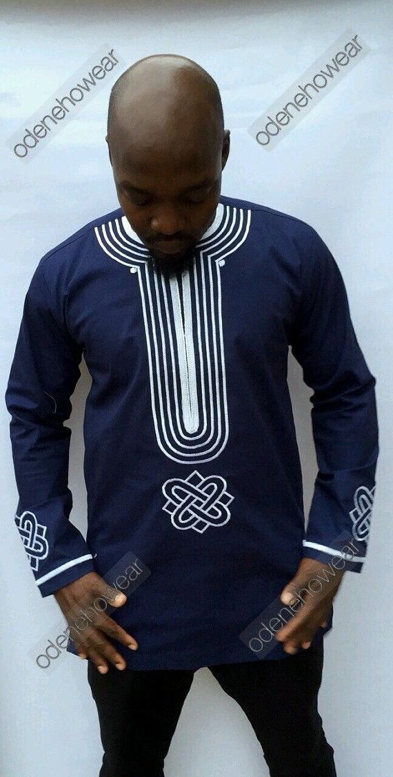 Odeneho Wear Mens Navy Blue Polished Cotton Top With Embroidery Design Long Sleeves Top Only.. Our top and bottom are usually custom made. Please email us if you have the dimensions you want us to us. We use the size chart of USA to make our clothes. All