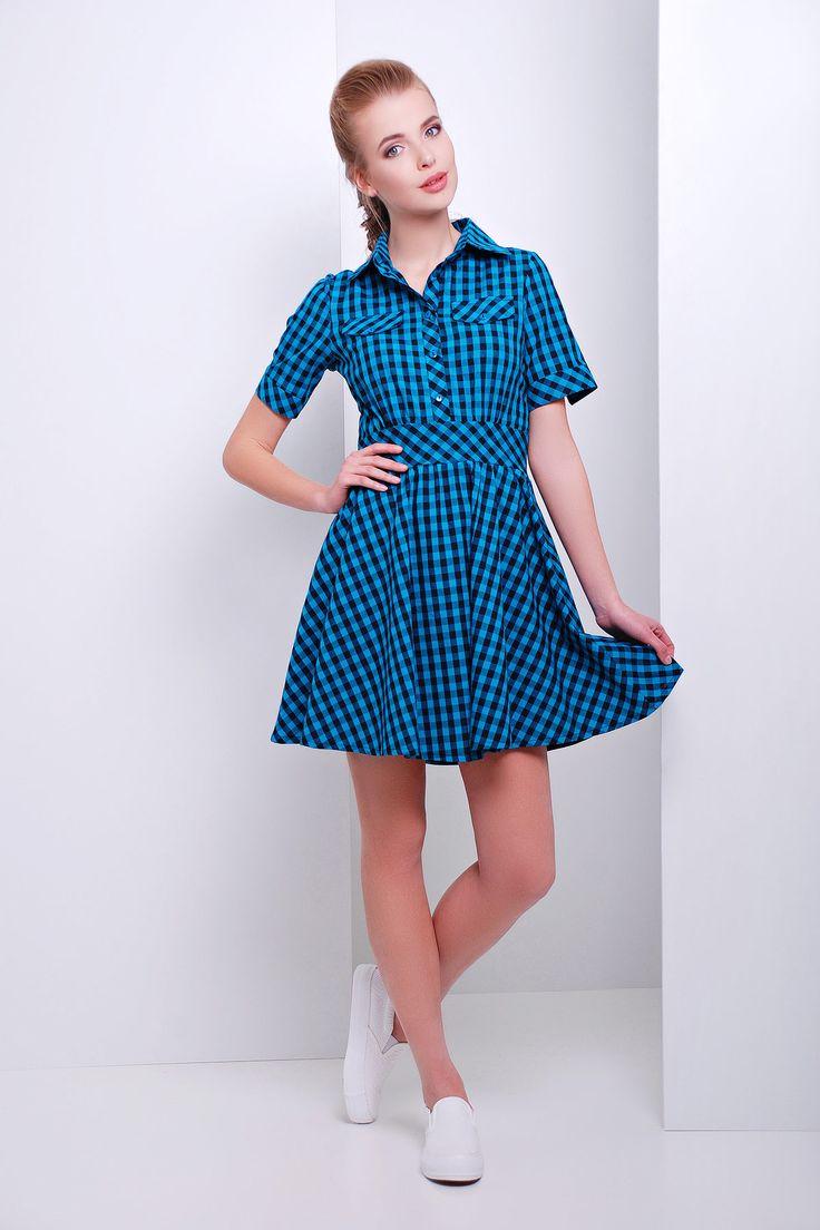 Платье в клетку с коротким рукавом и расклешенной юбкой. платье Джеки к/р. Цвет: бирюза-черная клетка