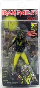 Iron Maiden Killers Eddie is gonna get you!  This version of Eddie is based on the classic 1981 Killers cover, the 7 inch figure has loads of articulation and includes axe accessory and album cover backdrop.