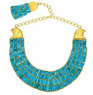 turquoise and gold | Turquoise and Gold Collar with Horus Heads
