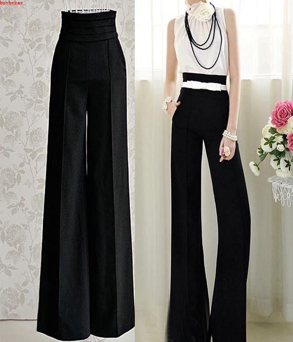 vintage vrouwen carrière slanke hoge taille flare wijde pijpen palazzo broek lange broek