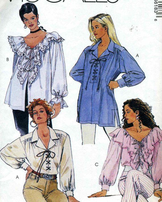 McCalls 6618 UNCUT Misses Ruffled Poet's Shirt by RomasMaison, $8.00