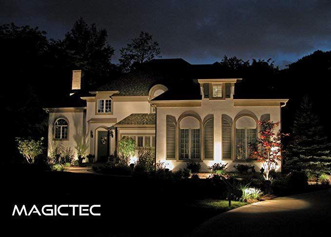 Amazon Com Solar Spotlights Magictec Warm Light 2 In 1 Adjustable 4 Led Wall Land Outdoor Lighting Design Landscape Lighting Design Led Landscape Lighting