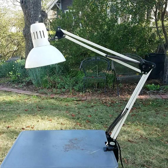 Vintage White Swing Arm Architect Lamp Mid Century Clamp Light Task Artist Student