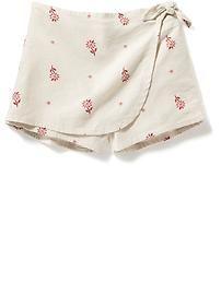 Floral-Print Linen-Blend Skort
