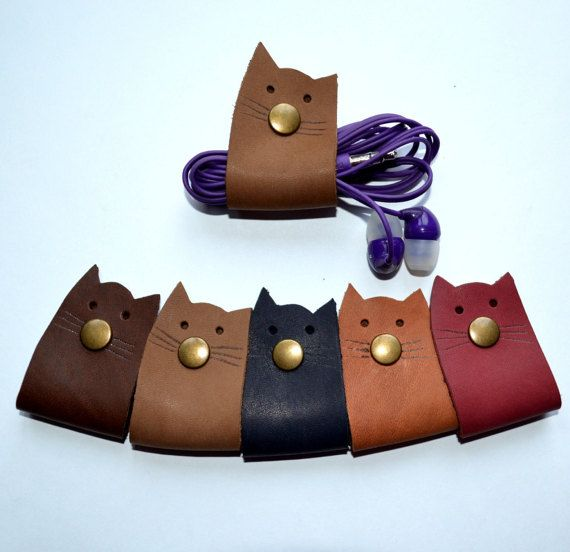 Leather Cord Wrapping Cat Cord Holder Organizer Ear Plugs Leather Cord Holder Cat Lovers Lover Earphone Gift Under 10