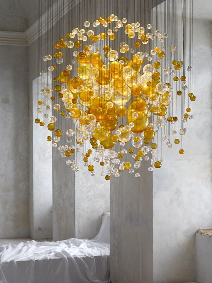 Lustre contemporain / en verre - BUBBLES IN SPACE : 13-CL-003 by Jitka Kamencová Skuhravá - LASVIT