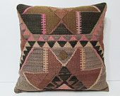 24x24 HANDWOVEN earthy pillow brown pillow cover natural pillow case big throw pillow large cushion cover euro sham cover kilim pillow 19079