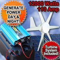 Solar Power Generator 12000 Watt 110 Amp With Wind Turbine System