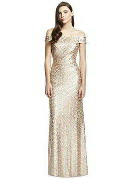 Full length off the shoulder Dessy Bridesmaid Dress