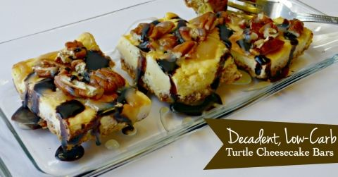 Decadent, Low-Carb Turtle Cheesecake Bars - YES, please!